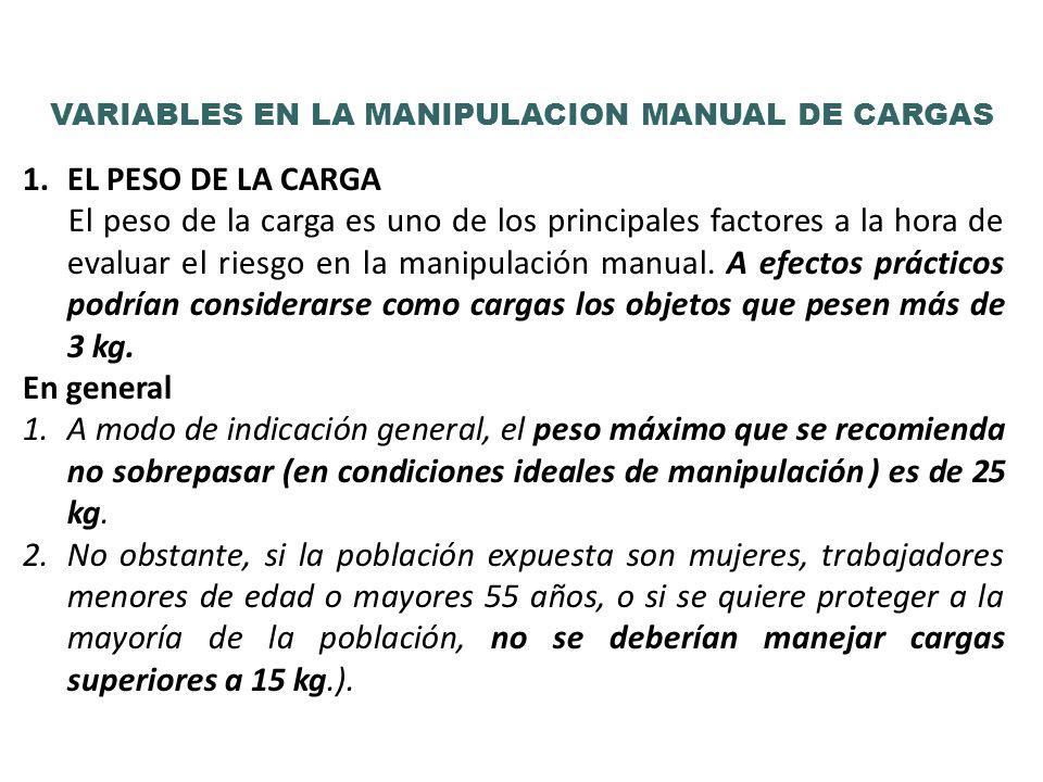 1.EL PESO DE LA CARGA El peso de la carga es uno de los principales factores a la hora de evaluar el riesgo en la manipulación manual. A efectos práct