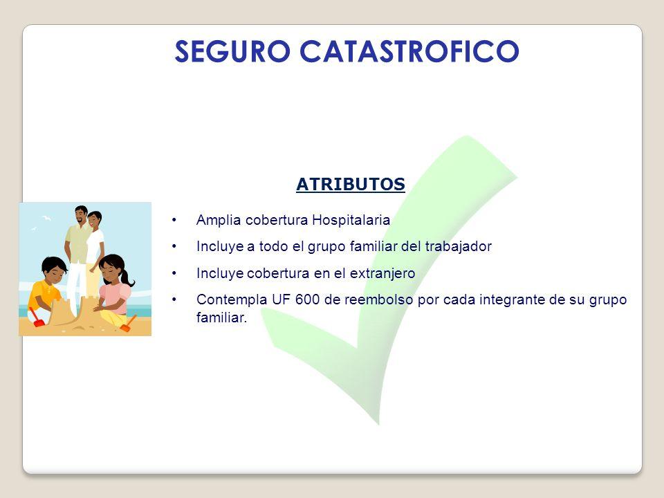 SEGURO CATASTROFICO ATRIBUTOS Amplia cobertura Hospitalaria Incluye a todo el grupo familiar del trabajador Incluye cobertura en el extranjero Contemp