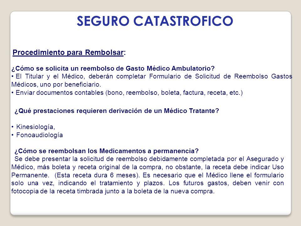 Procedimiento para Rembolsar: SEGURO CATASTROFICO ¿Cómo se solicita un reembolso de Gasto Médico Ambulatorio.