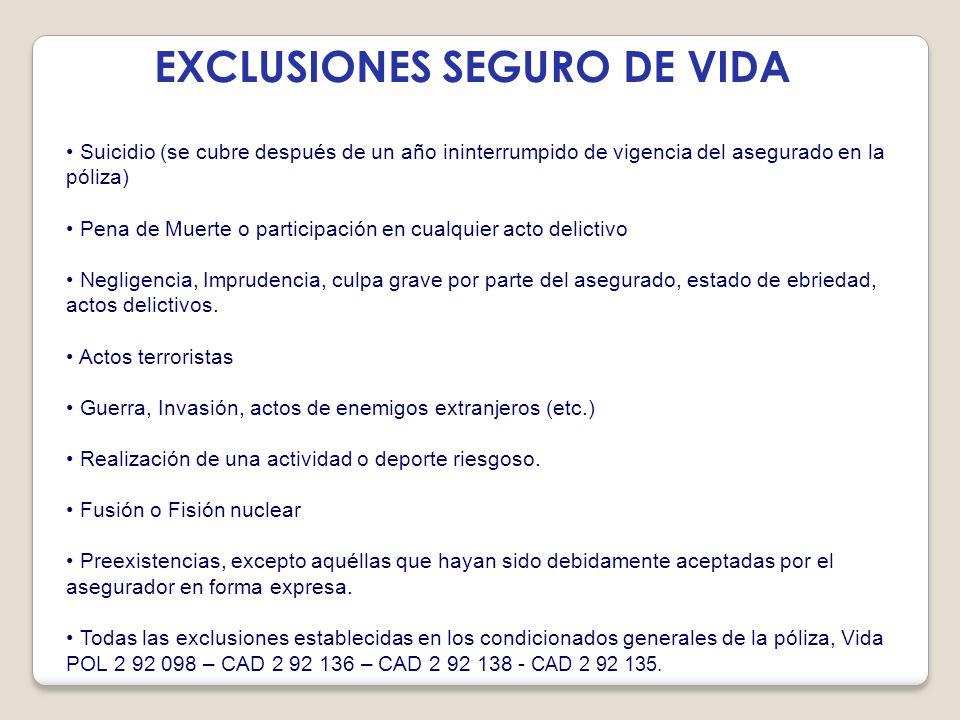 EXCLUSIONES SEGURO DE VIDA Suicidio (se cubre después de un año ininterrumpido de vigencia del asegurado en la póliza) Pena de Muerte o participación