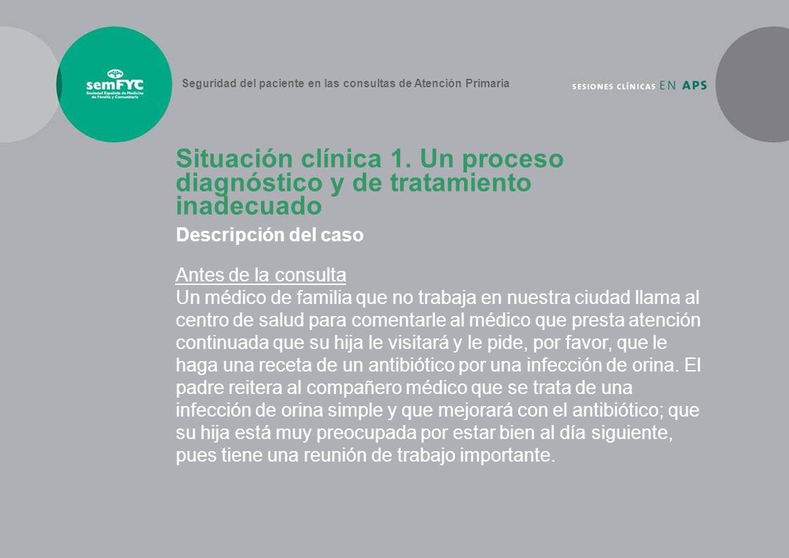 Descripción del caso Antes de la consulta Un médico de familia que no trabaja en nuestra ciudad llama al centro de salud para comentarle al médico que