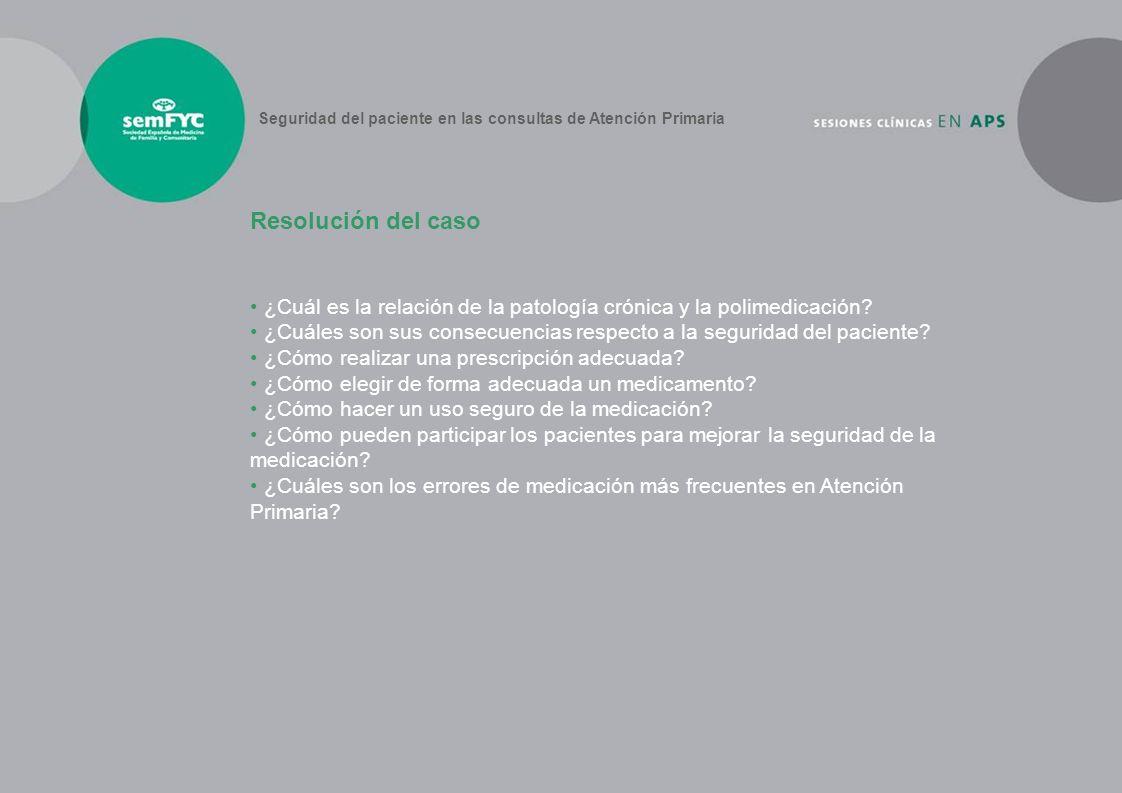 ¿Cuál es la relación de la patología crónica y la polimedicación? ¿Cuáles son sus consecuencias respecto a la seguridad del paciente? ¿Cómo realizar u