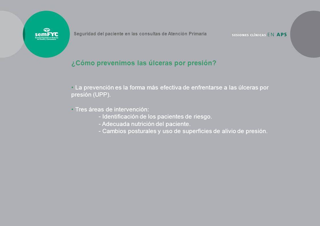 La prevención es la forma más efectiva de enfrentarse a las úlceras por presión (UPP). Tres áreas de intervención: - Identificación de los pacientes d