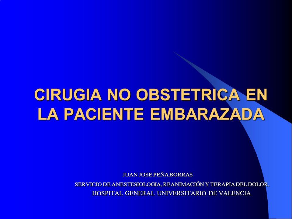 CIRUGIA NO OBSTETRICA EN LA PACIENTE EMBARAZADA JUAN JOSE PEÑA BORRAS SERVICIO DE ANESTESIOLOGIA, REANIMACIÓN Y TERAPIA DEL DOLOR.