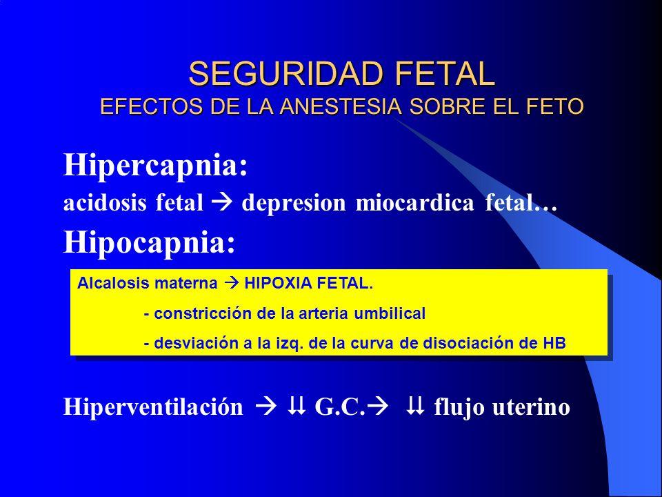 SEGURIDAD FETAL EFECTOS DE LA ANESTESIA SOBRE EL FETO Hipercapnia: acidosis fetal depresion miocardica fetal… Hipocapnia: Hiperventilación G.C. flujo