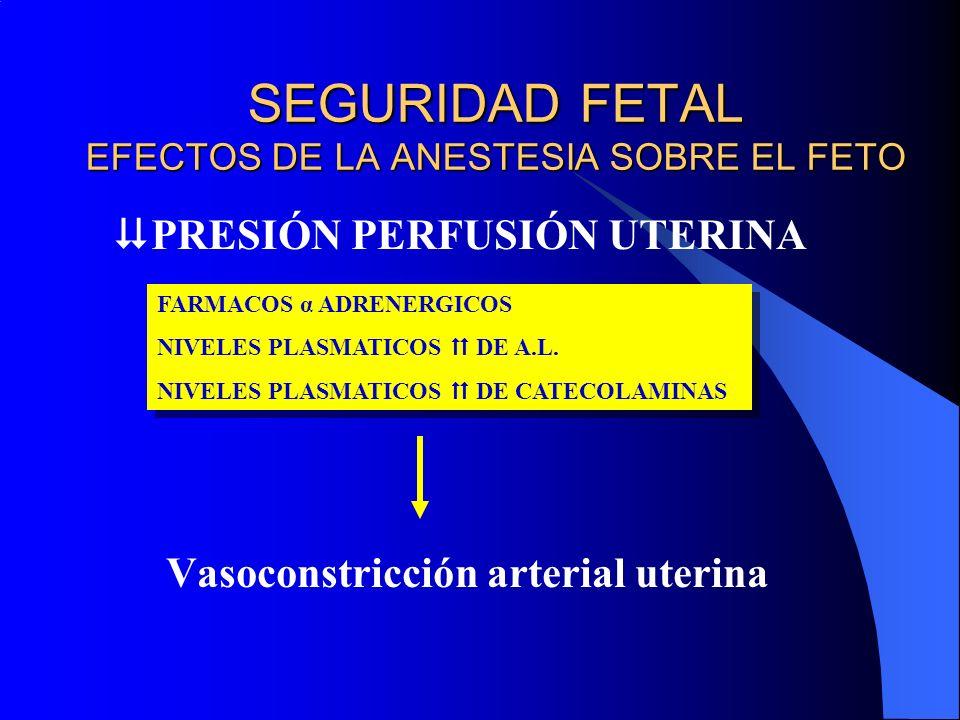SEGURIDAD FETAL EFECTOS DE LA ANESTESIA SOBRE EL FETO PRESIÓN PERFUSIÓN UTERINA Vasoconstricción arterial uterina FARMACOS α ADRENERGICOS NIVELES PLAS