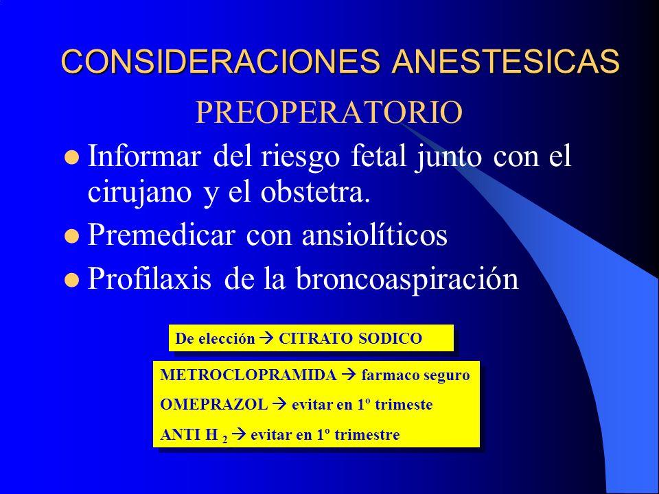 CONSIDERACIONES ANESTESICAS PREOPERATORIO Informar del riesgo fetal junto con el cirujano y el obstetra. Premedicar con ansiolíticos Profilaxis de la