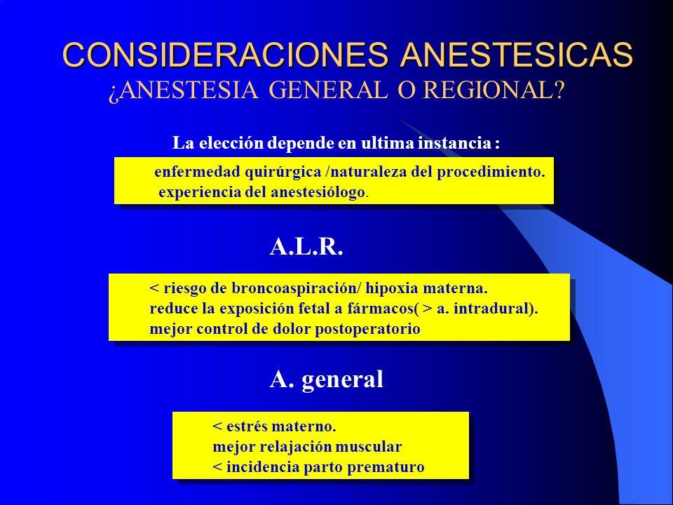 CONSIDERACIONES ANESTESICAS ¿ANESTESIA GENERAL O REGIONAL? La elección depende en ultima instancia : < riesgo de broncoaspiración/ hipoxia materna. re