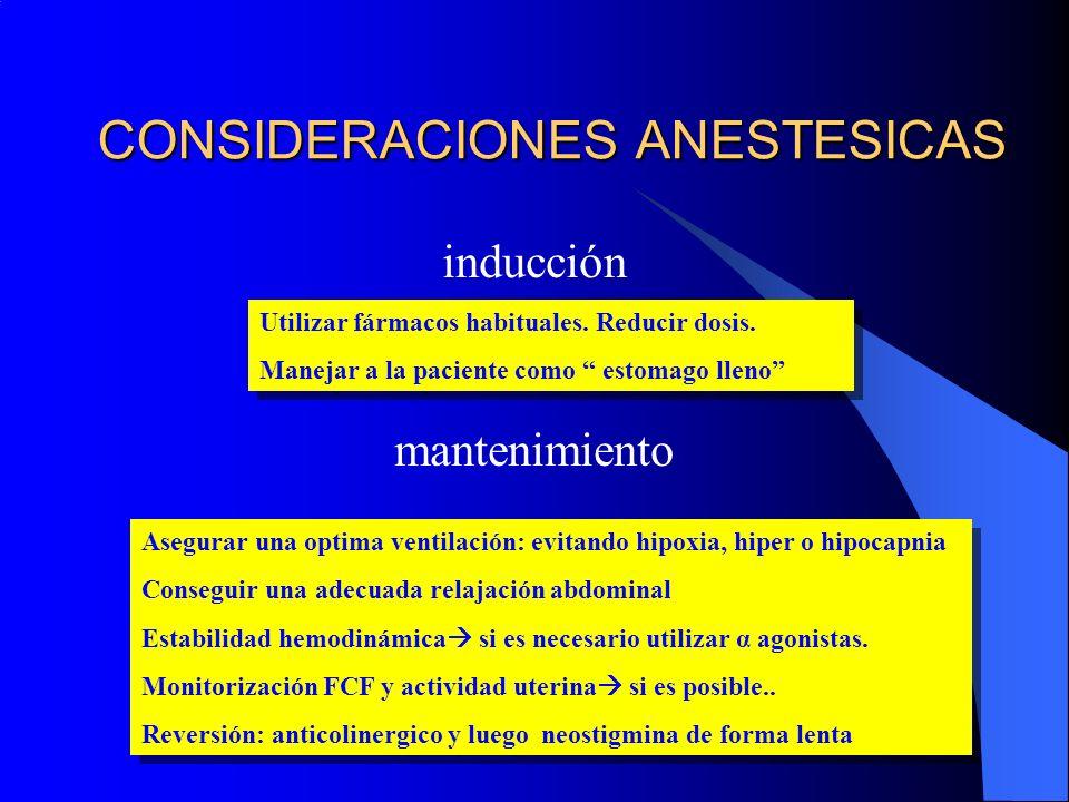 CONSIDERACIONES ANESTESICAS inducción mantenimiento Utilizar fármacos habituales. Reducir dosis. Manejar a la paciente como estomago lleno Utilizar fá