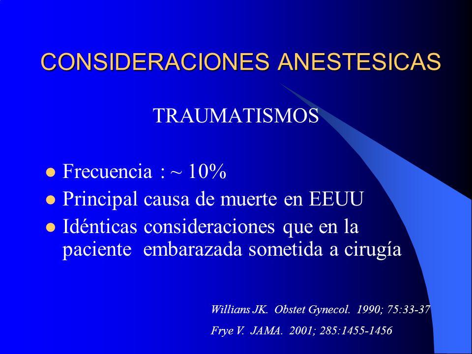 CONSIDERACIONES ANESTESICAS TRAUMATISMOS Frecuencia : ~ 10% Principal causa de muerte en EEUU Idénticas consideraciones que en la paciente embarazada