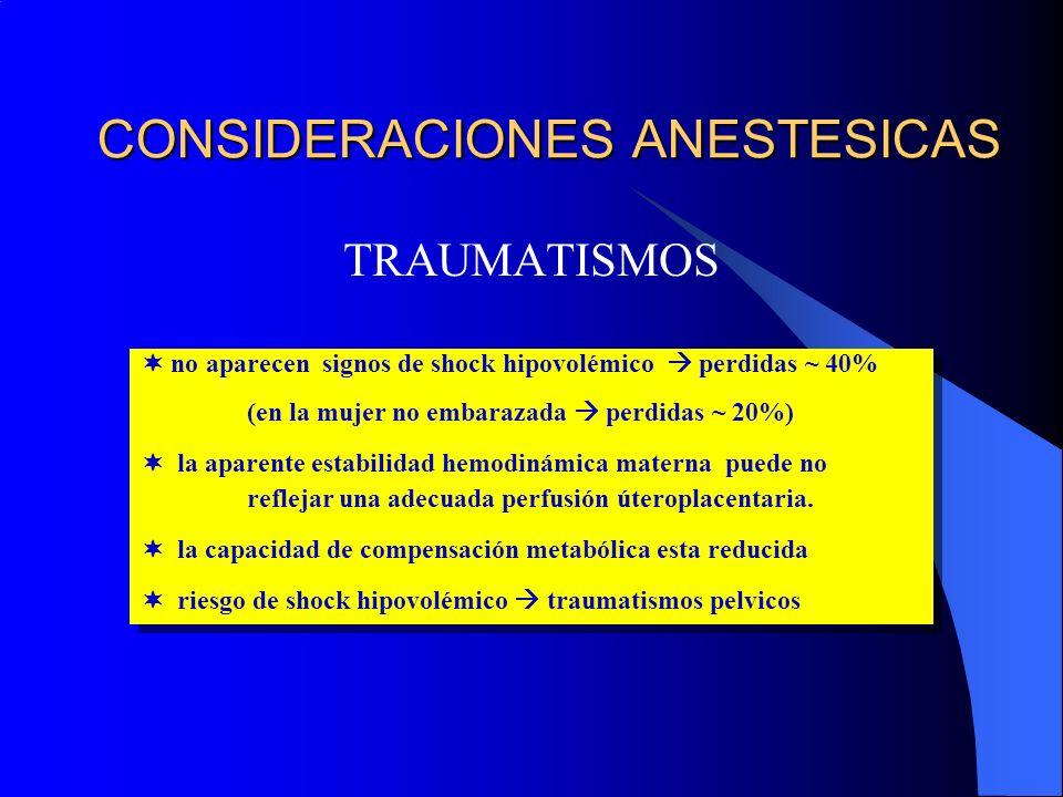 CONSIDERACIONES ANESTESICAS TRAUMATISMOS no aparecen signos de shock hipovolémico perdidas ~ 40% (en la mujer no embarazada perdidas ~ 20%) la aparente estabilidad hemodinámica materna puede no reflejar una adecuada perfusión úteroplacentaria.