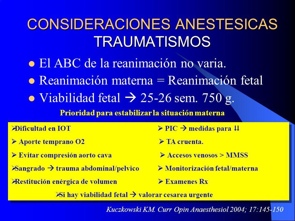 CONSIDERACIONES ANESTESICAS TRAUMATISMOS El ABC de la reanimación no varia. Reanimación materna = Reanimación fetal Viabilidad fetal 25-26 sem. 750 g.