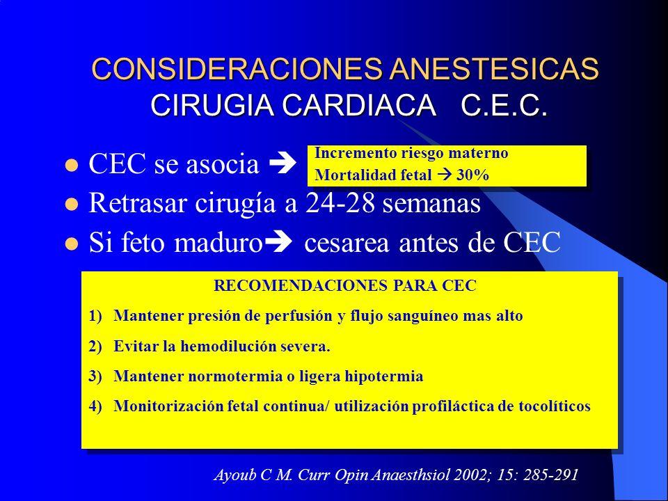 CONSIDERACIONES ANESTESICAS CIRUGIA CARDIACA C.E.C. CEC se asocia Retrasar cirugía a 24-28 semanas Si feto maduro cesarea antes de CEC RECOMENDACIONES