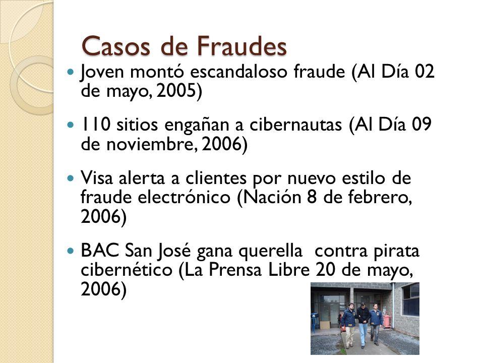 Casos de Fraudes Joven montó escandaloso fraude (Al Día 02 de mayo, 2005) 110 sitios engañan a cibernautas (Al Día 09 de noviembre, 2006) Visa alerta
