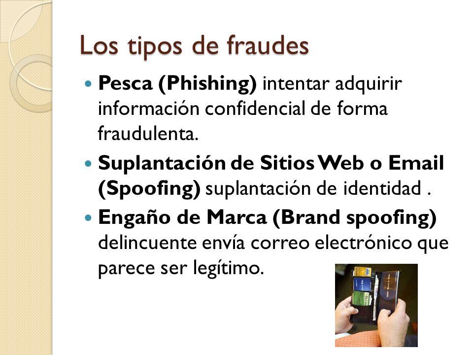 Los tipos de fraudes Pesca (Phishing) intentar adquirir información confidencial de forma fraudulenta. Suplantación de Sitios Web o Email (Spoofing) s