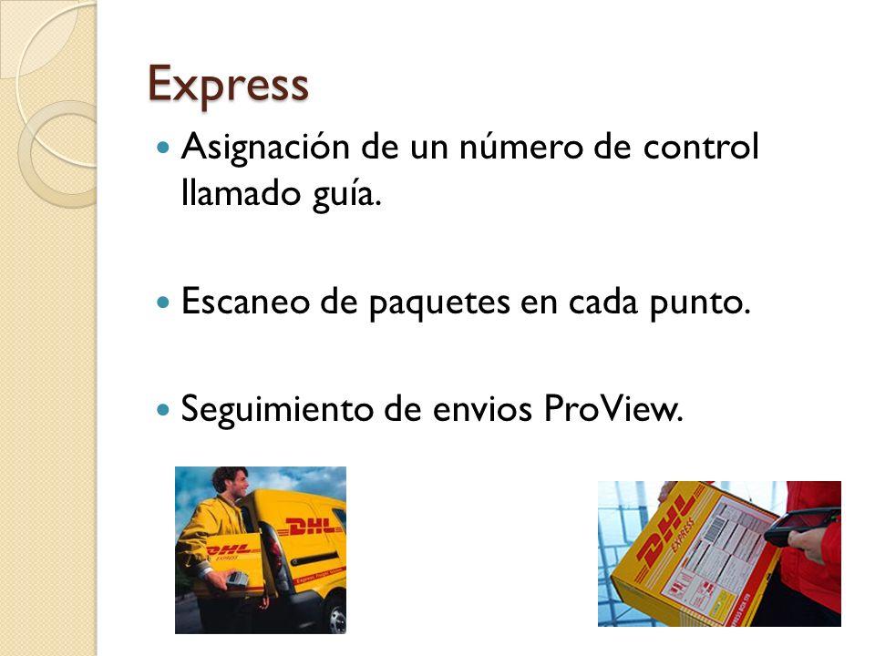 Express Asignación de un número de control llamado guía. Escaneo de paquetes en cada punto. Seguimiento de envios ProView.
