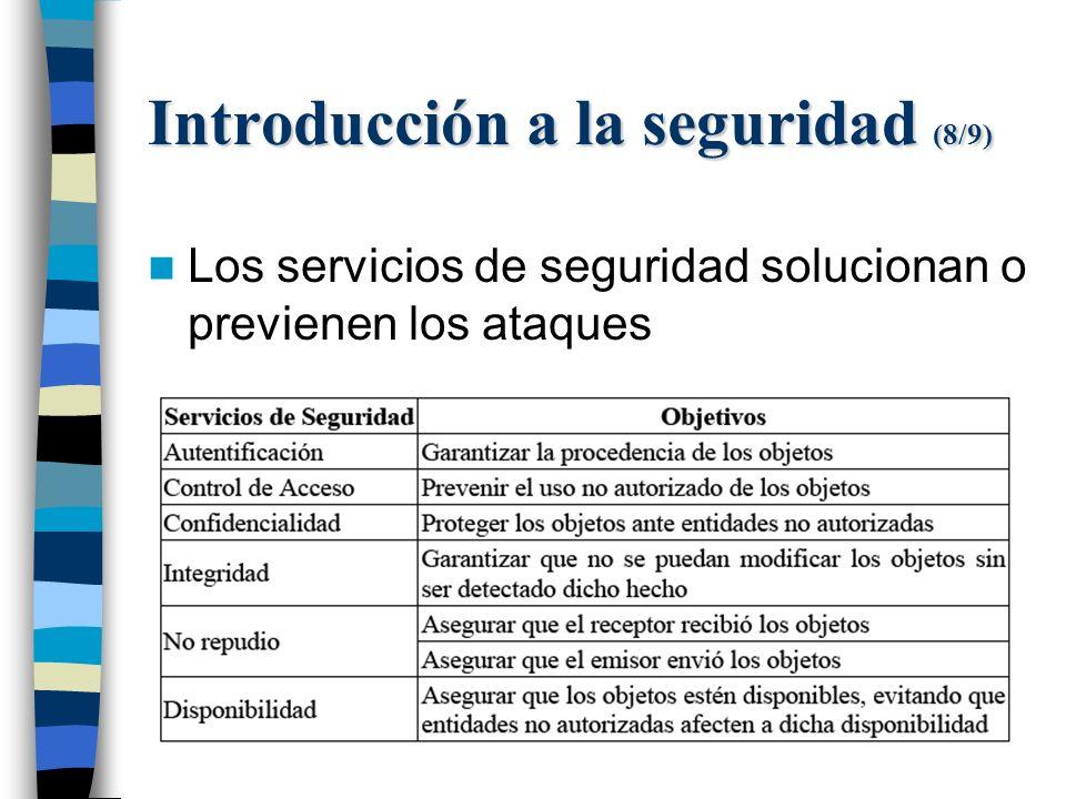 Introducción a la seguridad (8/9) Los servicios de seguridad solucionan o previenen los ataques