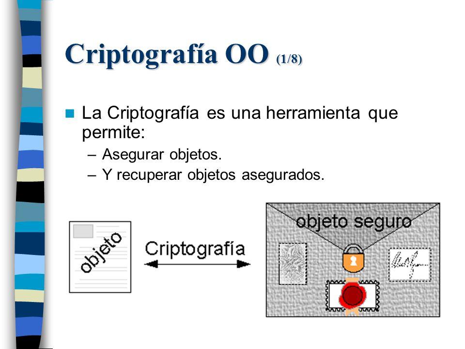 Criptografía OO (1/8) La Criptografía es una herramienta que permite: –Asegurar objetos.