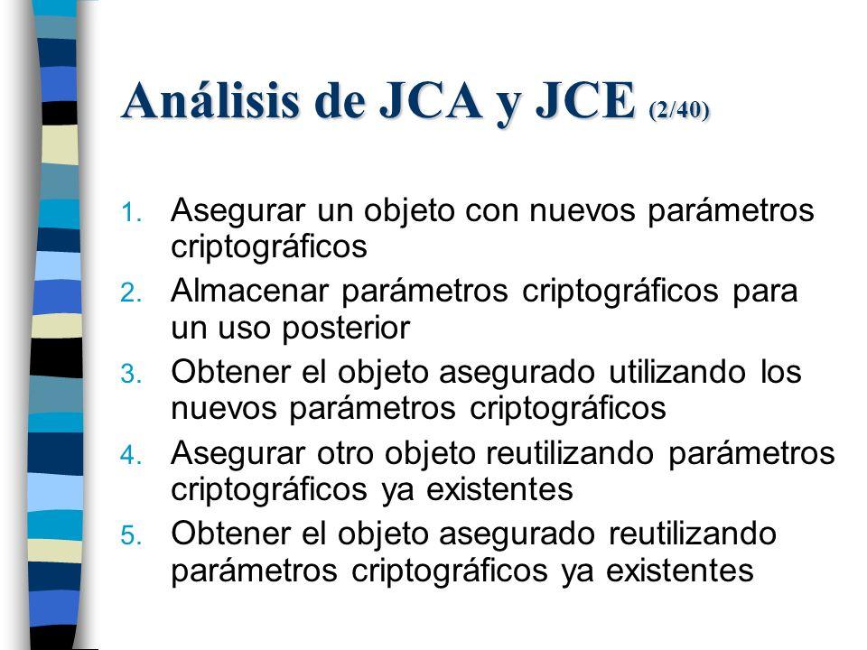 Análisis de JCA y JCE (2/40) 1. Asegurar un objeto con nuevos parámetros criptográficos 2.