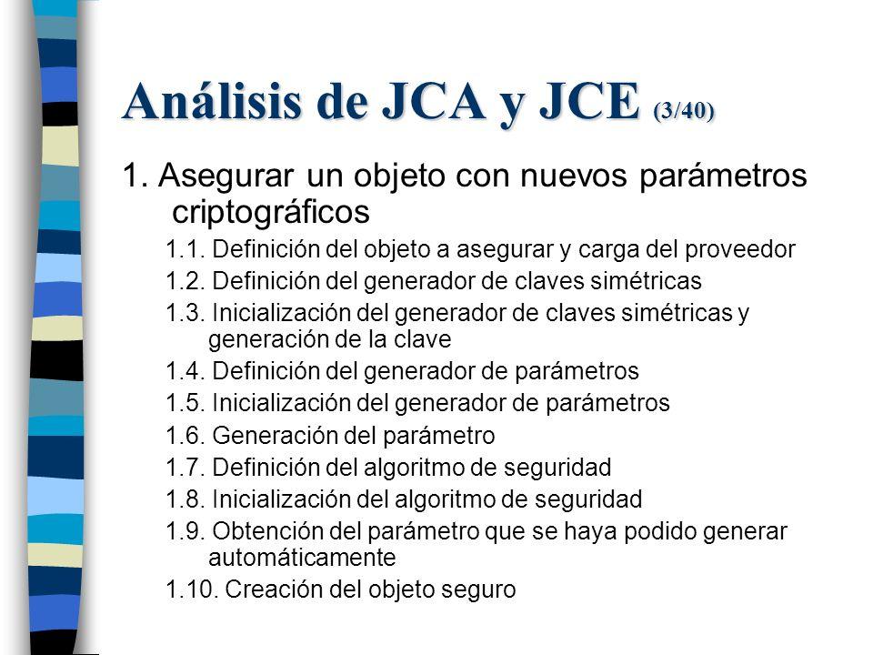 Análisis de JCA y JCE (3/40) 1. Asegurar un objeto con nuevos parámetros criptográficos 1.1.