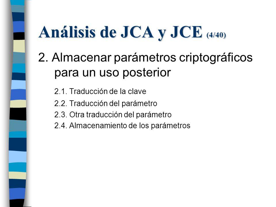 Análisis de JCA y JCE (4/40) 2. Almacenar parámetros criptográficos para un uso posterior 2.1.