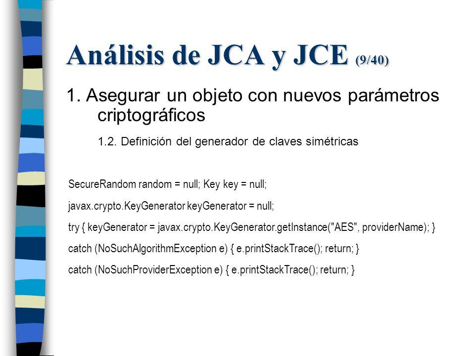 Análisis de JCA y JCE (9/40) 1. Asegurar un objeto con nuevos parámetros criptográficos 1.2.