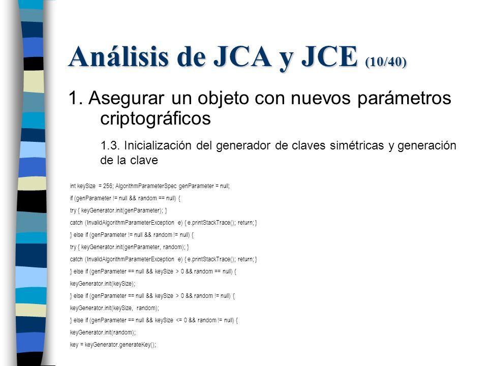 Análisis de JCA y JCE (10/40) 1. Asegurar un objeto con nuevos parámetros criptográficos 1.3.