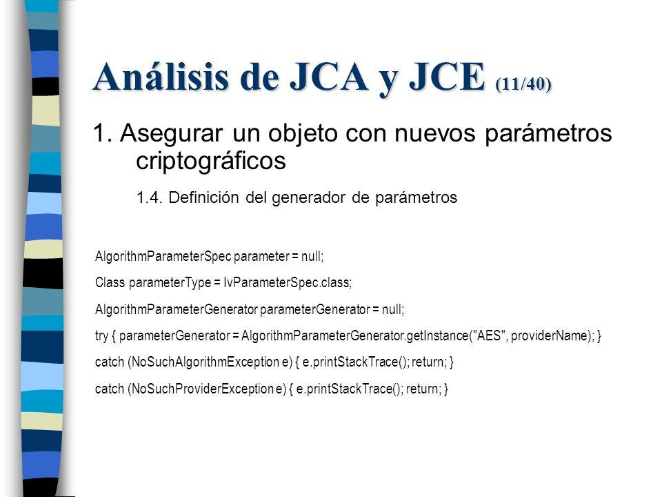 Análisis de JCA y JCE (11/40) 1. Asegurar un objeto con nuevos parámetros criptográficos 1.4.