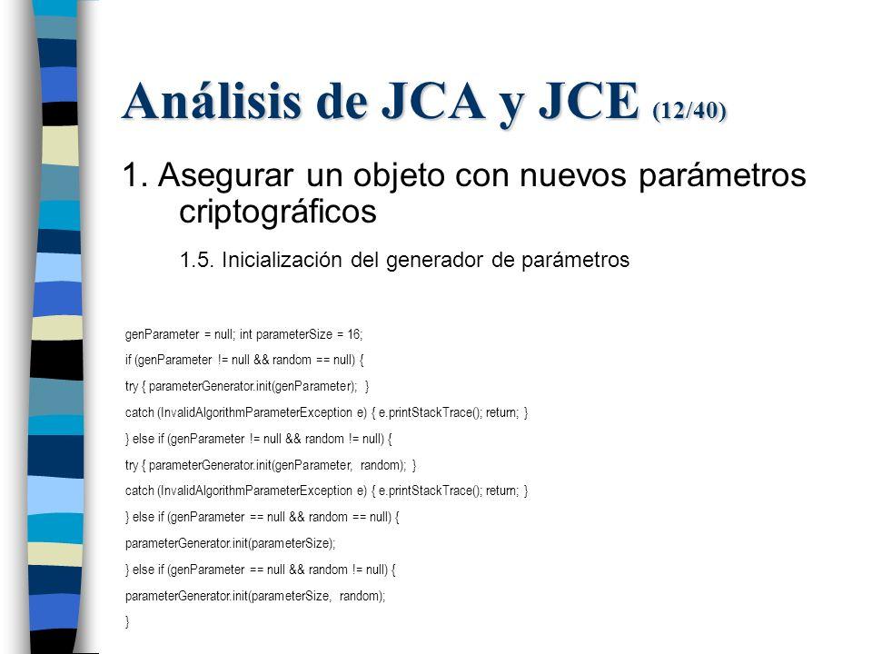 Análisis de JCA y JCE (12/40) 1. Asegurar un objeto con nuevos parámetros criptográficos 1.5.