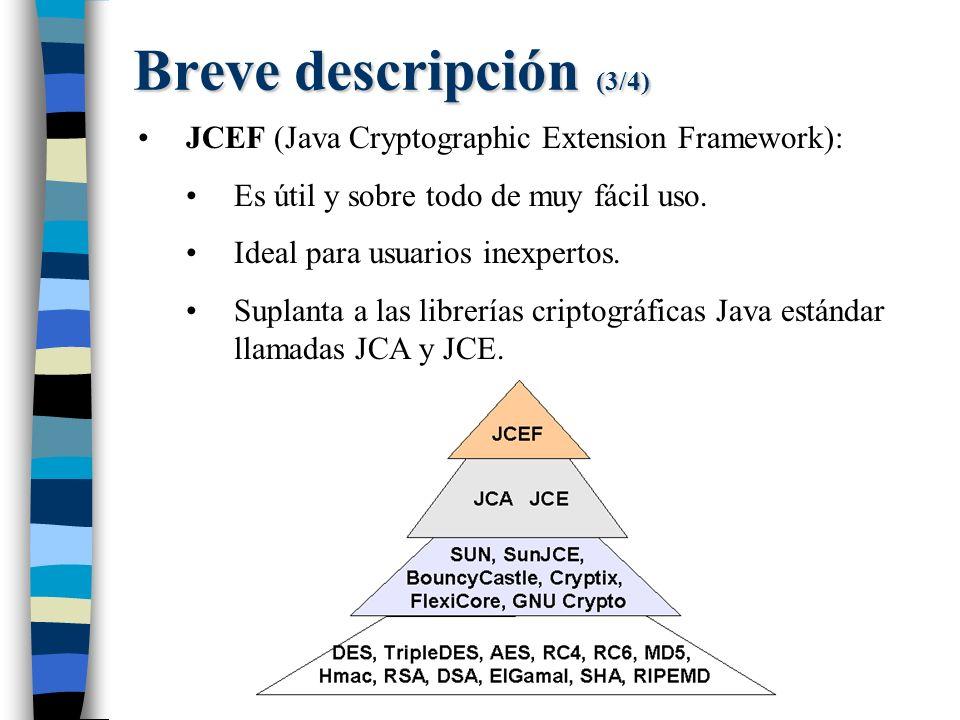JCEF (Java Cryptographic Extension Framework): Es útil y sobre todo de muy fácil uso.