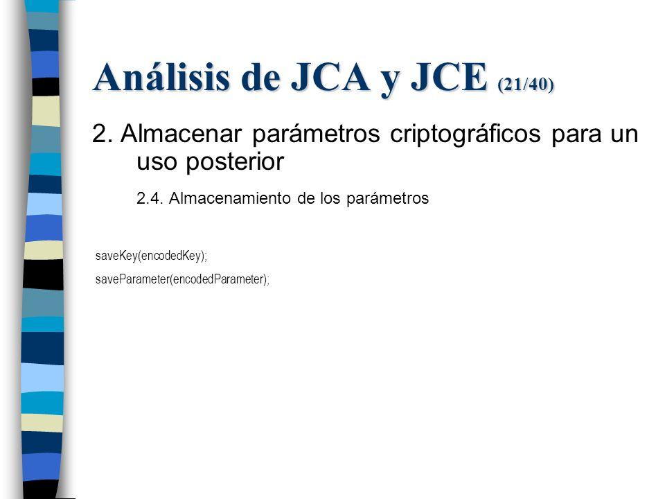 Análisis de JCA y JCE (21/40) 2. Almacenar parámetros criptográficos para un uso posterior 2.4.