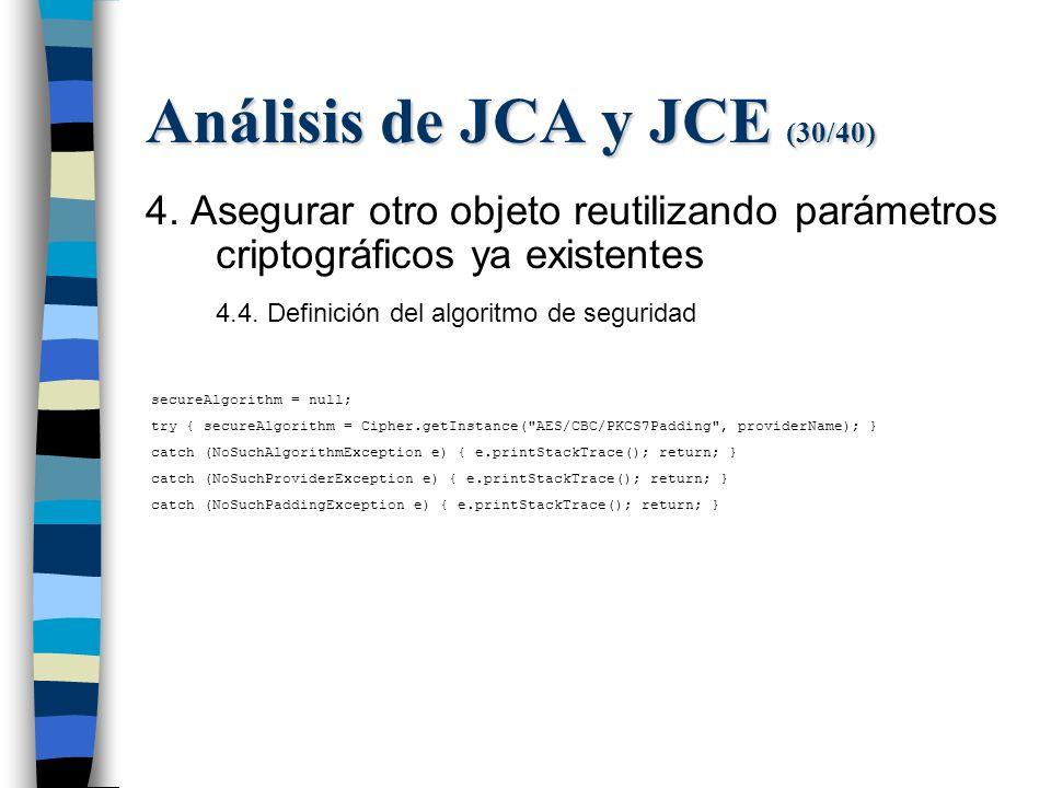 Análisis de JCA y JCE (30/40) 4.