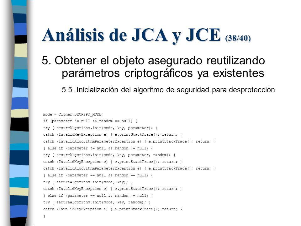 Análisis de JCA y JCE (38/40) 5.