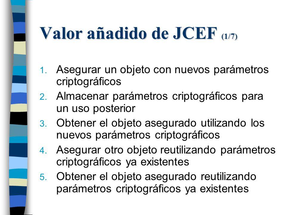 Valor añadido de JCEF (1/7) 1. Asegurar un objeto con nuevos parámetros criptográficos 2.