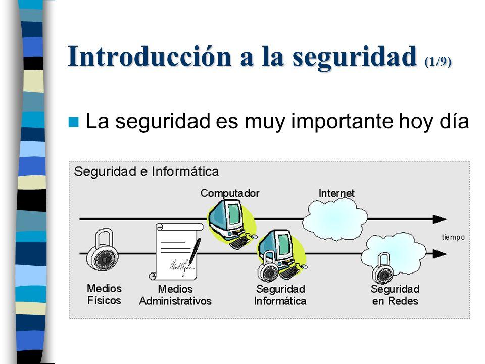 Introducción a la seguridad (1/9) La seguridad es muy importante hoy día