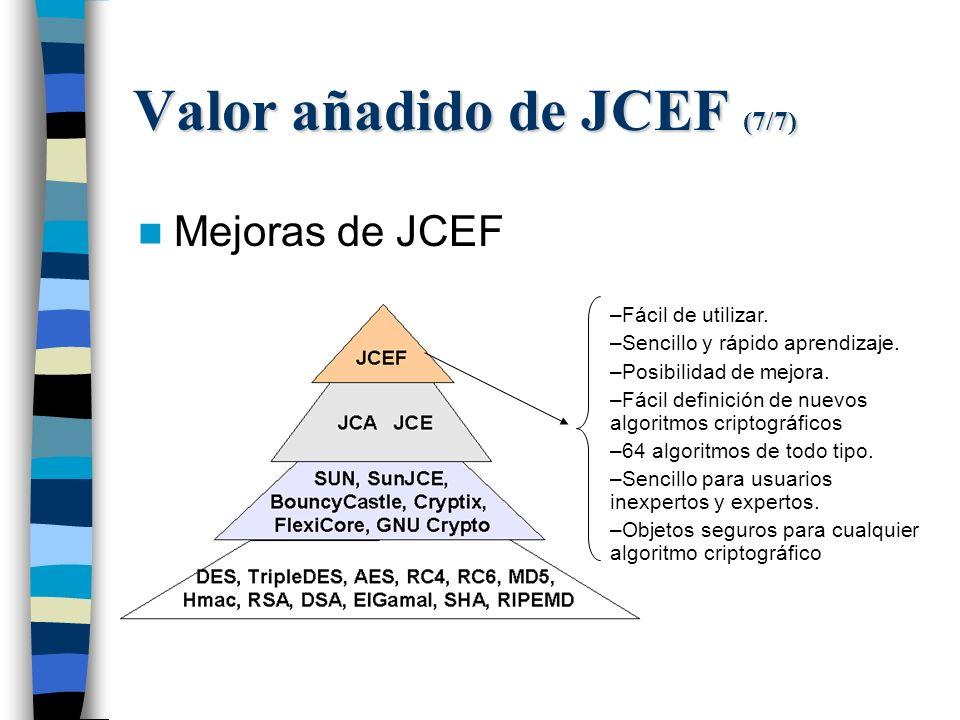 Valor añadido de JCEF (7/7) Mejoras de JCEF –Fácil de utilizar.