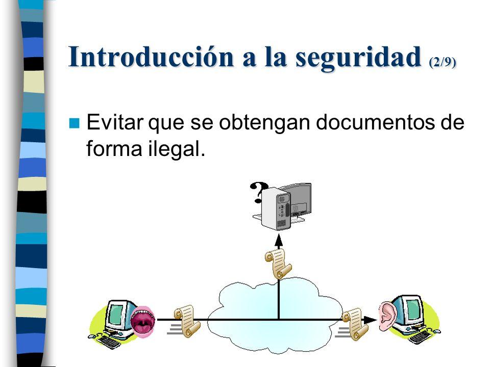 Introducción a la seguridad (2/9) Evitar que se obtengan documentos de forma ilegal.