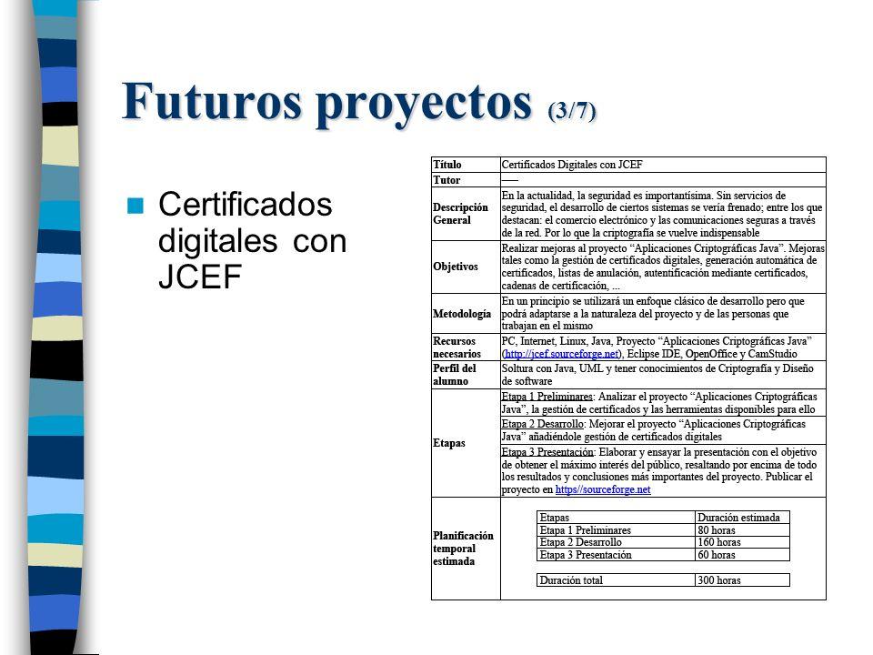 Futuros proyectos (3/7) Certificados digitales con JCEF