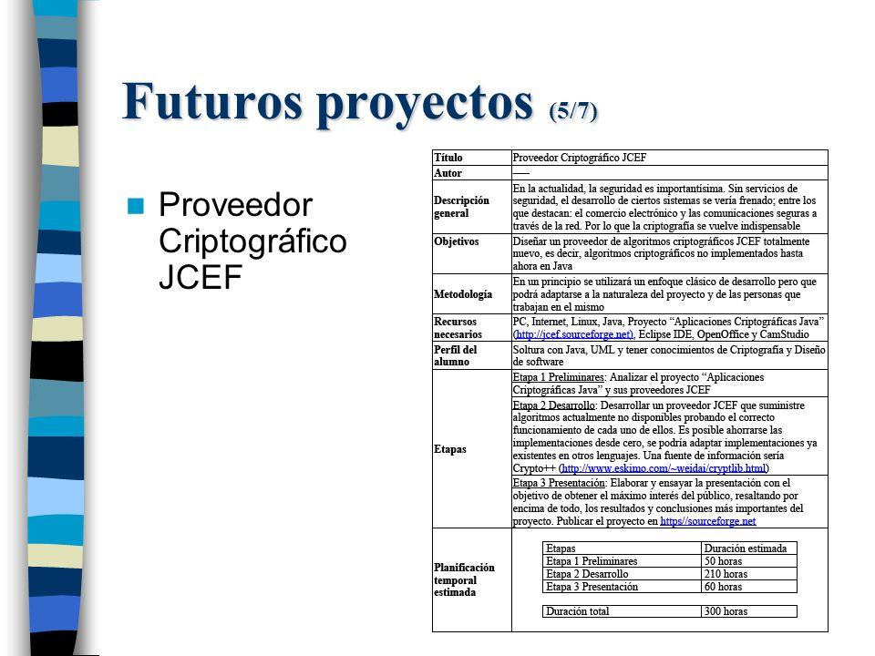 Futuros proyectos (5/7) Proveedor Criptográfico JCEF