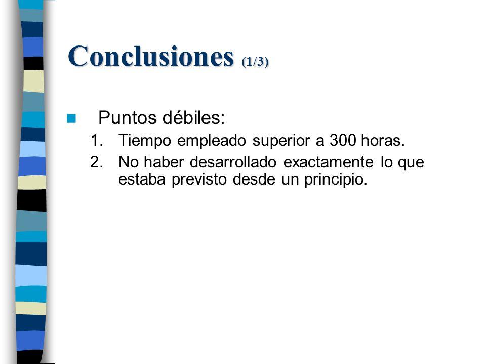Conclusiones (1/3) Puntos débiles: 1.Tiempo empleado superior a 300 horas.