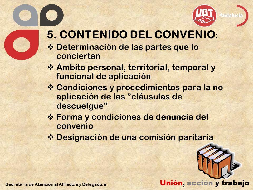 5. CONTENIDO DEL CONVENIO : Determinación de las partes que lo conciertan Ámbito personal, territorial, temporal y funcional de aplicación Condiciones
