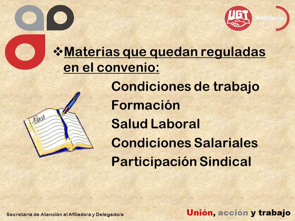 Materias que quedan reguladas en el convenio: Condiciones de trabajo Formación Salud Laboral Condiciones Salariales Participación Sindical Secretaría