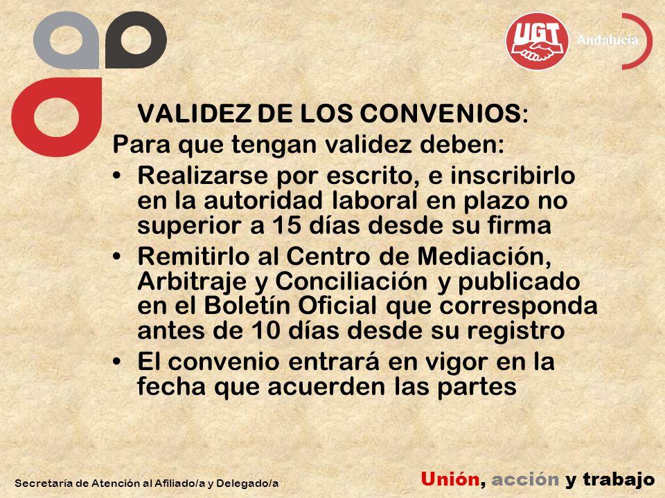 VALIDEZ DE LOS CONVENIOS: Para que tengan validez deben: Realizarse por escrito, e inscribirlo en la autoridad laboral en plazo no superior a 15 días