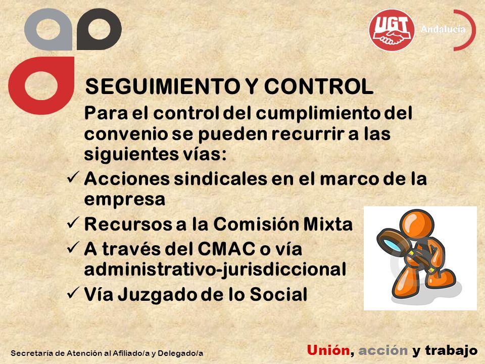 SEGUIMIENTO Y CONTROL Para el control del cumplimiento del convenio se pueden recurrir a las siguientes vías: Acciones sindicales en el marco de la em