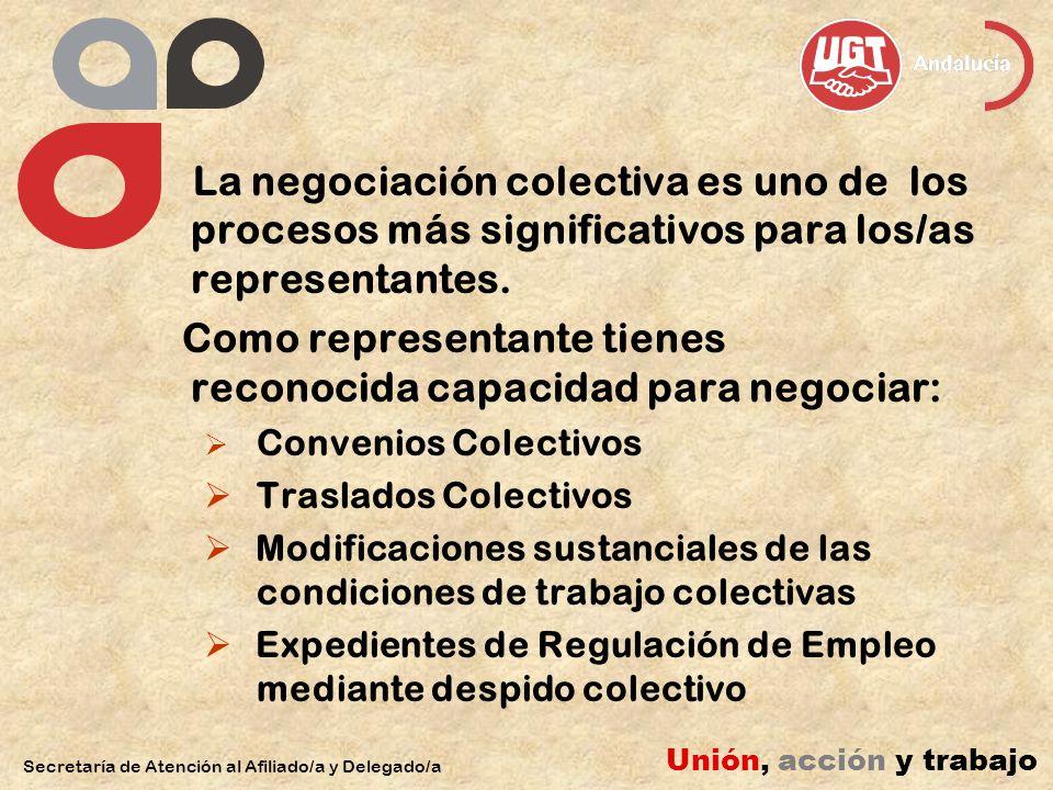 Secretaría de Atención al Afiliado/a y Delegado/a Unión, acción y trabajo La negociación colectiva es uno de los procesos más significativos para los/
