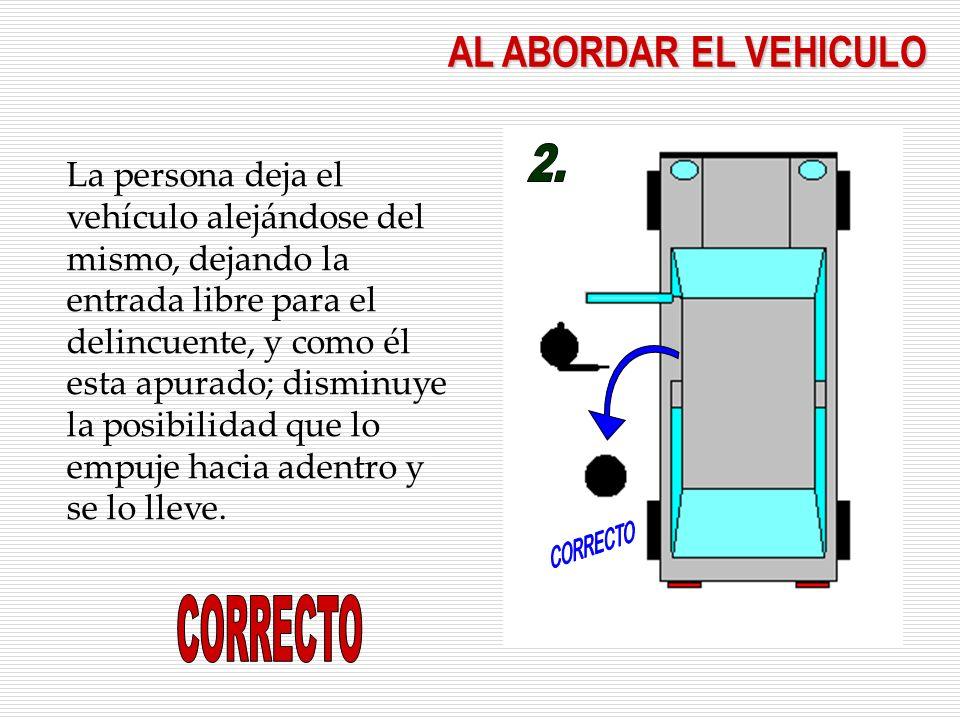 AL ABORDAR EL VEHICULO La persona deja el vehículo alejándose del mismo, dejando la entrada libre para el delincuente, y como él esta apurado; disminuye la posibilidad que lo empuje hacia adentro y se lo lleve.