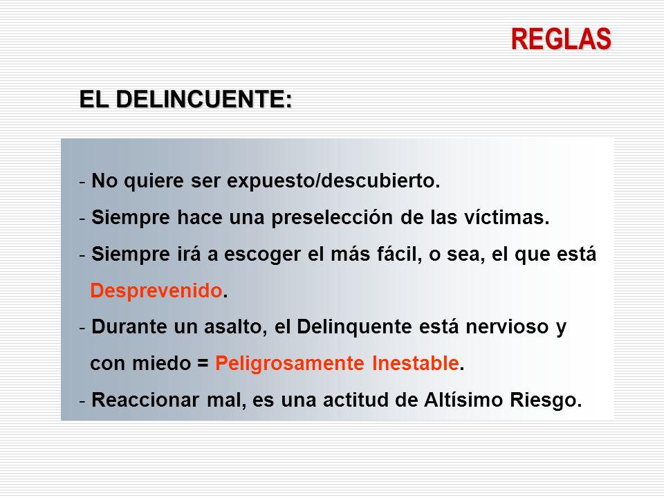 REGLAS El Delincuente no tiene una descripción característica exacta, hoy muchas personas relatan haber sido atacados en Bancos y Comercios por hombres elegantes de traje y corbata.