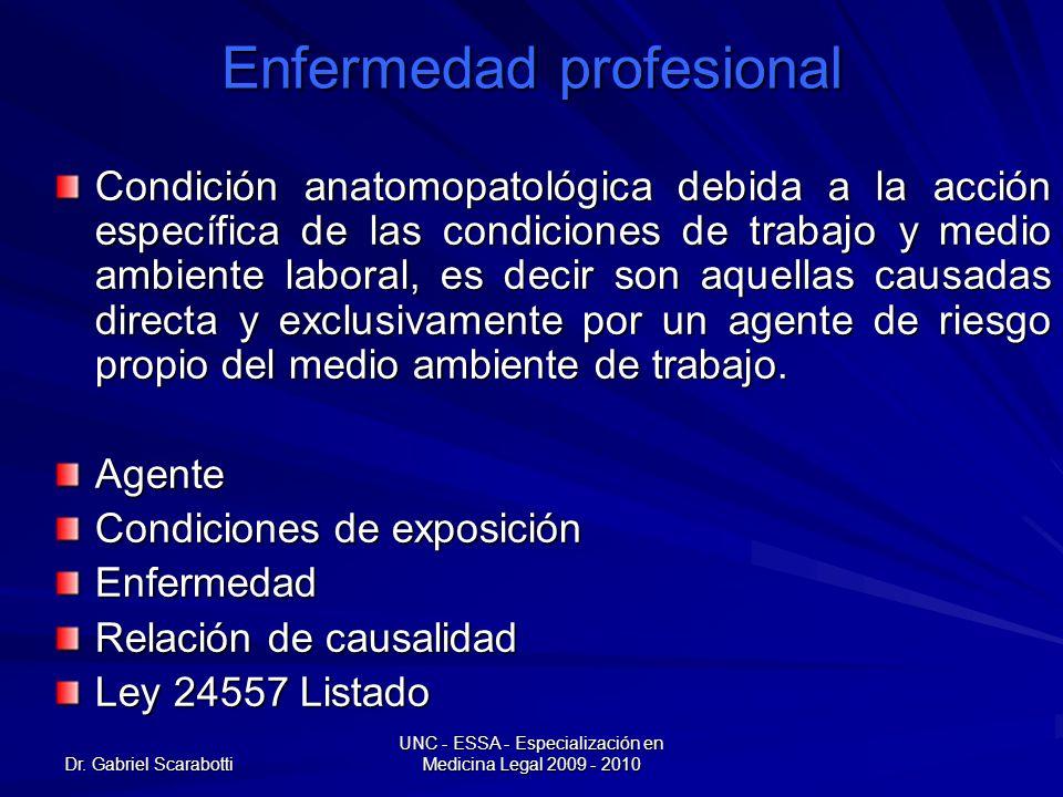 Dr. Gabriel Scarabotti UNC - ESSA - Especialización en Medicina Legal 2009 - 2010 Enfermedad profesional Condición anatomopatológica debida a la acció