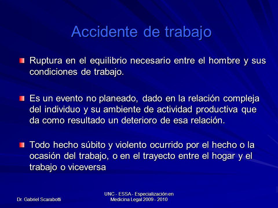Dr. Gabriel Scarabotti UNC - ESSA - Especialización en Medicina Legal 2009 - 2010 Accidente de trabajo Ruptura en el equilibrio necesario entre el hom