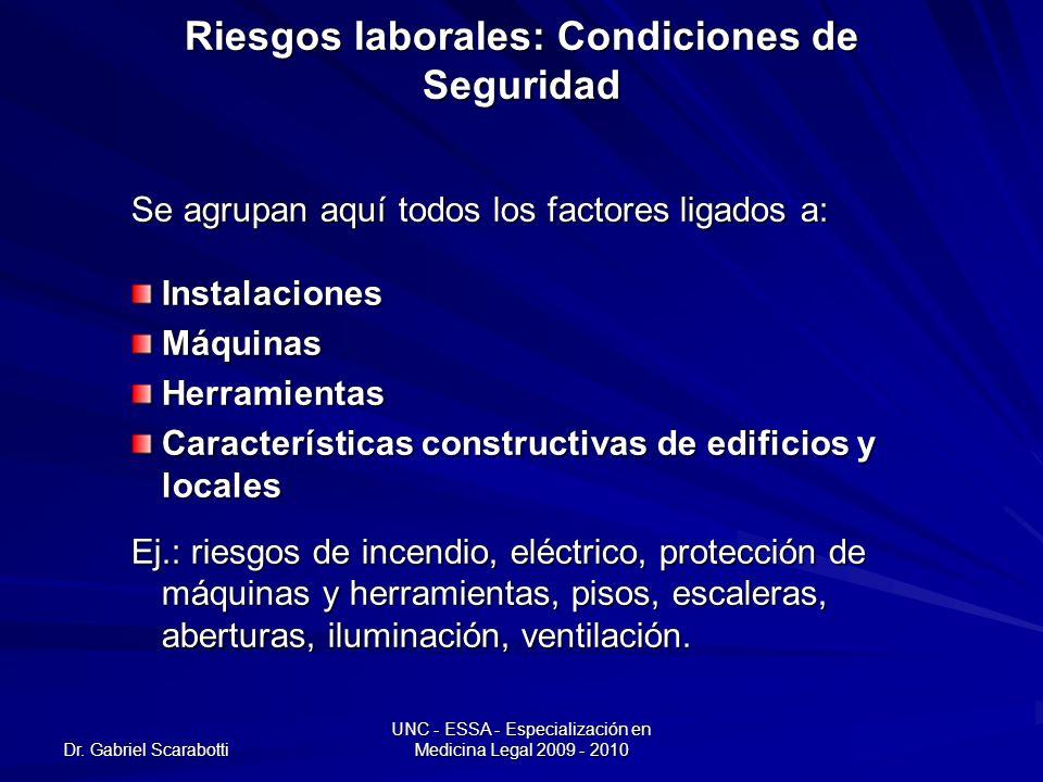 Dr. Gabriel Scarabotti UNC - ESSA - Especialización en Medicina Legal 2009 - 2010 Riesgos laborales: Condiciones de Seguridad Se agrupan aquí todos lo